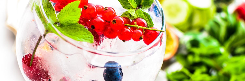 Gin and juniper berries drink