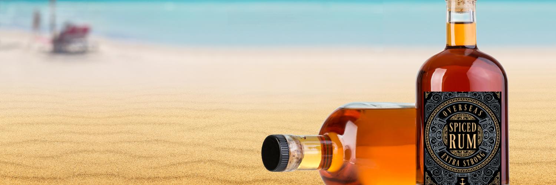 rum bottle on beach